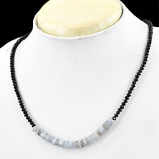 60.00 Cts Natural Faceted Black Spinel & Moonstone Round Beads Necklace NK 10E60