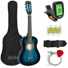 "Kids Blue 30"" Classical Acoustic Guitar Set for Beginners Bag Picks Tuner Strap"