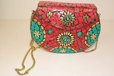 Indian Bag Clutch Purse Traditional Ethnic Authentic With Long Chain
