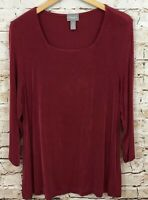 Chicos Travelers shirt womens 3 square neck XL 3/4 sleeve red top tunic R3
