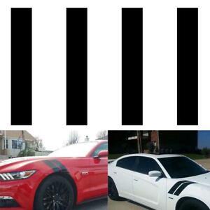 4pcs Black Rally Racing Car Side Hood Fender Stripes Decal Sticker Waterproof