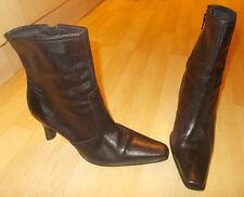 Ladies DOLCIS Black Soft Leather Heeled Ankle Boots - Size EU 41 - UK 8