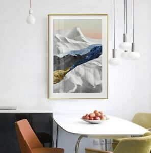 Mountain Landscape Geometric Design Canvas Print Poster Modern Painting A