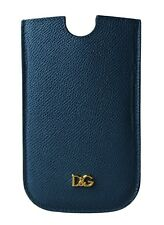 NEW $150 DOLCE & GABBANA Phone Case Cover Blue Gold Logo Leather SIII 14.5x8.5