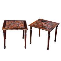 Antique Farmhouse Victorian Tile Top Carved Oak End Tables - a Pair