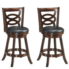 "Set of 2 Bar Stools 24"" Height Wooden Swivel Backed Dining Chair Home Kitchen"