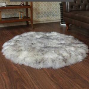 Weiß Grau Weiches Schaffell flauschige Haut Kunstpelz Teppich Waschbare