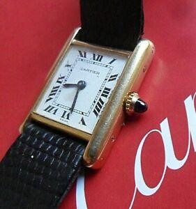 Luxury 18K Solid Gold Cartier Tank Louis Swiss Mechanical Lady's Watch w/ Buckle