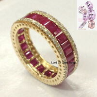 Pink Sapphire Wedding Band!Engagement Ring,14K Yellow Gold,Anniversary Eternity