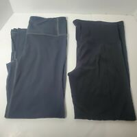 Lot Of 2 Athleta Size M Slit Capri Womens Black Grey Fitted Thigh Relaxed Knee