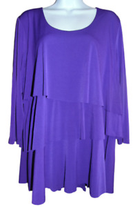 Super Cute Purple Layered Ruffle Susan Graver 3/4 Sleeve Top - Large