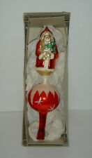 "Vintage Blown Glass SANTA Tree Topper 11"" Tall"
