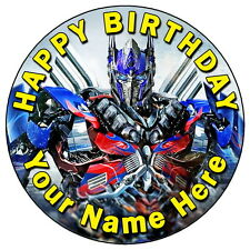 "TRANSFORMERS OPTIMUS PRIME - 7.5"" PERSONALISED ROUND EDIBLE ICING CAKE TOPPER"