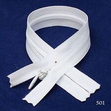 "12 pcs Quality BKC Invisible Zipper Top Open Bottom Closed 9"" White #501"