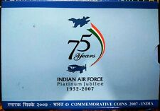 India Republic 2007 PLATINUM JUBILEE INDIAN AIR FORCE PROOF COIN SET RS, 100 & 2