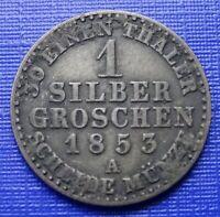 German Prussia 1 Silber Groschen~1853 (A) F. Wilhelm IV~KM#462~Silver~VF~#964