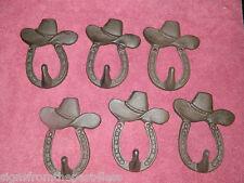 Set/6 Rustic Cowboy Western Hat Horse Shoe Wall Mounted Coat Hooks Cast Iron