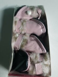 Pink Leopard Faux Fur Booties for dogs. Size medium
