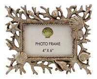 Silvertone Coral Seashells Starfish Coastal 4 X 6 Picture Photo Frame Tabletop