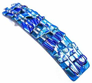 """Dichroic Glass Barrette 3.5"""" 90mm Turquoise Blue Teal Polka Dots Large Hair Clip"""