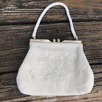 Vtg Cream Floral Beaded Purse Handbag Evening Bag Abalone Gold 50s 60s Japan