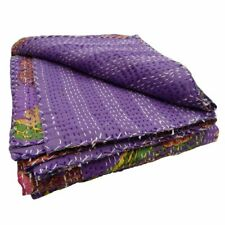 Hippie Purple Floral Printed Indian Coverlets Cotton Bedcover Quilt Queen Kantha