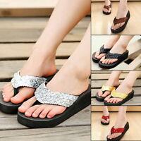 Women Lady Flat Sandals Sequin Thong Flip Flops Platform Casual Slippers