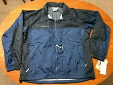 MENS NEW WITH TAGS COLUMBIA FULL ZIP BLUE HOODED PACKABLE RAIN JACKET SIZE LARGE