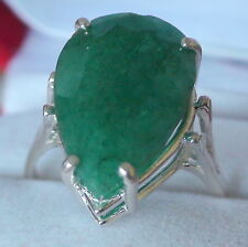 NATURAL UNHEATED EMERALD 11.82 CT RING 925 STERLING SILVER.SIZE 8,75.