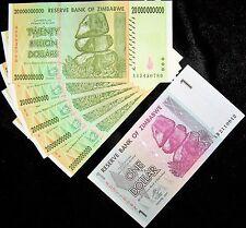 6 Zimbabwe banknotes-5 x 20 Billion Dollars + 1 dollar-paper money currency