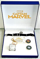 2019 SDCC Marvel Comics Official Captain Marvel Movie Jewelry & Pin Set New MIB