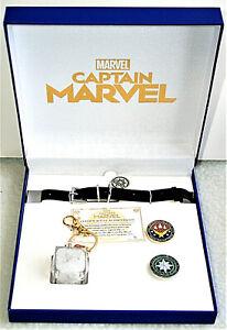 2019 SDCC Marvel Comics Official Captain Marvel Movie Jewelry & Pin Set New MIB