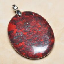 "Extremely Red Natural Bloodstone 925 Sterling Silver Clasp 2"" Pendant #012"