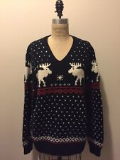Polo Ralph Lauren Navy Blue White Red Christmas Holiday Reindeer Sweater Sz XL