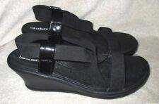 "New *SKECHERS* Faux Patent Trim/Elastic Straps,Slip On,2.5"" Wedge Sandal Heel,9M"