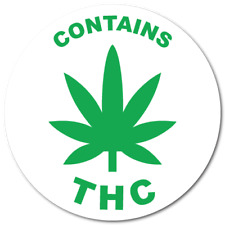 """""""Contains THC"""" 0.75 Circle, Green on White Labels, Roll of 1,000 Stickers"""