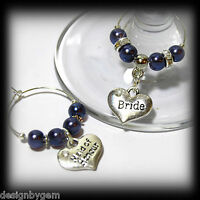Beautiful Royal Blue wedding wine glass charms for top table or favours decor