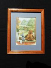 Wooden Picture Frame with Teddy Bear and Mouse Looking out of Window 23.5cm x 28