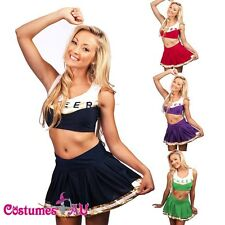 Ladies Cheerleader Uniform School Girl Costume Outfits Fancy Dress Costume