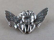 Sterling Silver Cherub Angel Brooch 4.5g [2886]