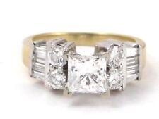 IGI 14k Yellow Gold Princess Round & Baguette Diamond Engagement Ring 2.20ct 6g
