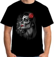 Velocitee Mens T Shirt Pretty Dia De Los Muertos Lady Day Of The Dead A20455