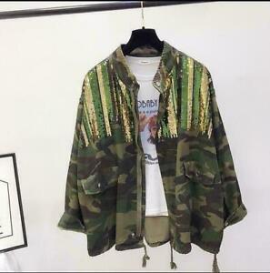 Womens Oversize Camouflage Glitter Sequin Denim Jacket Coat Waistcoats