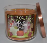 NEW BATH & BODY WORKS CARAMEL PUMPKIN SWIRL SCENTED CANDLE 3 WICK 14.5 OZ LARGE