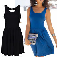 genial Rücken Kleid Gr.42/44 SCHWARZ Mini Sommerkleid Shirtkleid