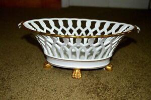 Vintage (VA) Vista Alegre Portuguese Clawfoot Porcelain Centerpiece Fruit Basket