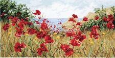 RARE Anchor Maia Cross stitch kit - Clifftop poppies APC940