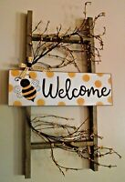 PRIMITIVE RUSTIC BUMBLE BEE LADDER DECOR WELCOME SIGN WALL HANGING