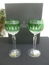 2 WATERFORD CRYSTAL CLARENDON EMERALD HOCK GLASSES