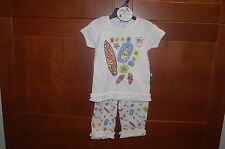Girls 2 Piece Playwear OUTFIT White Size 4T SURF TAN FUN Stretchy NWT